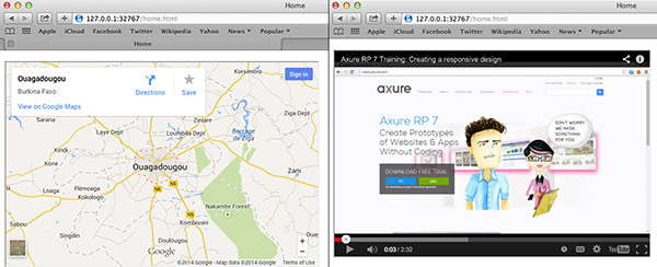 I used Axure's inline frame widget to embed an interactive Google Map and a YouTube video.