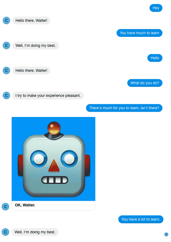 A Chatfuel chatbot on Facebook Messenger