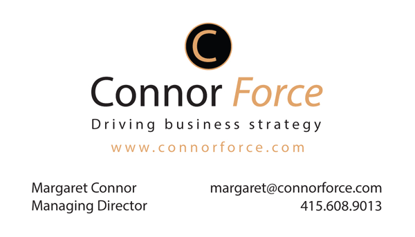 Front of the business card for my client, Connor Force.