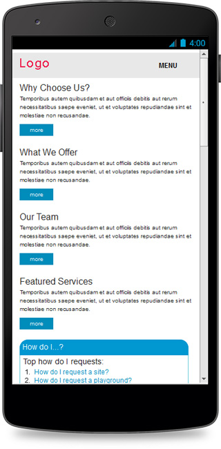 Mobile view of client site created with Foundation 5.