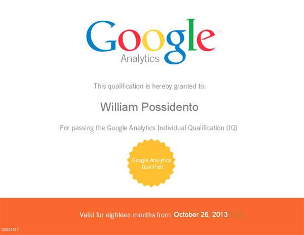 My Google Analytics Individual Qualification (GAIQ) certificate