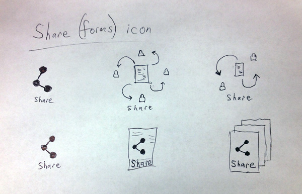 Preliminary sketches for a new share icon or share forms icon.