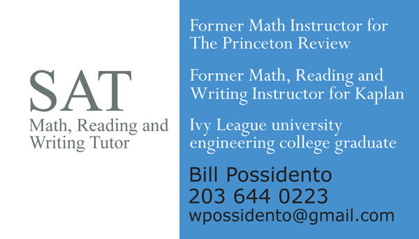 My SAT tutor business card.