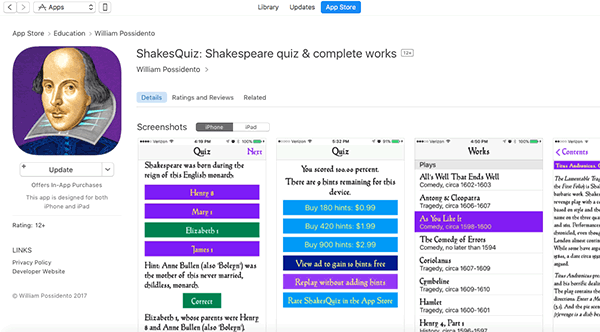ShakesQuiz: Shakespeare quiz & complete work in the App Store