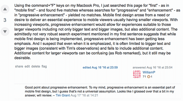 My response to a question regarding mobile-first design on UX Stack Exchange.
